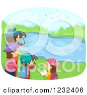 Clipart Of A Happy Family Bird Watching At A Lake Royalty Free Vector Illustration
