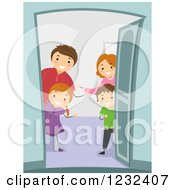 Clipart Of A Welcoming Family Greeting At Their Door Royalty Free Vector Illustration