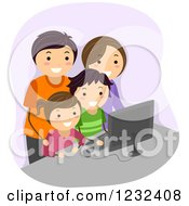 Clipart Of A Happy Family Using A Computer Together Royalty Free Vector Illustration