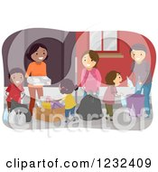Clipart Of Diverse Friends Recycling Royalty Free Vector Illustration