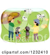 Clipart Of A Happy Asian Family Visiting A Farm Royalty Free Vector Illustration