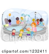 Clipart Of A Happy Mother And Children Around A Water Fountain Royalty Free Vector Illustration by BNP Design Studio
