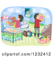 Clipart Of Expecting Parents Decorating A Baby Nursery Royalty Free Vector Illustration