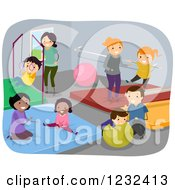 Clipart Of Happy Diverse Children And Adults At A Gym Royalty Free Vector Illustration