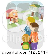 Clipart Of A Caucasian Family House Hunting Royalty Free Vector Illustration