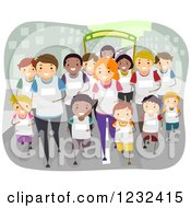 Clipart Of A Happy Diverse Team Running A Marathon Royalty Free Vector Illustration