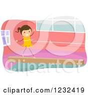 Clipart Of A Gymnast Girl Walking On A Balance Beam Royalty Free Vector Illustration by BNP Design Studio