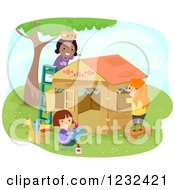 Clipart Of Happy Diverse Girls Decorating A Play House Royalty Free Vector Illustration