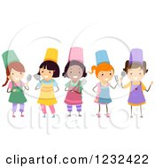 Clipart Of Happy Diverse Chef Girls With Cooking Utensils Royalty Free Vector Illustration