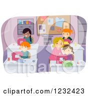 Clipart Of A Female Teacher Instructing Girls In A Sewing Class Royalty Free Vector Illustration