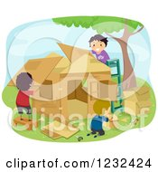 Clipart Of Diverse Boys Building A Play House Royalty Free Vector Illustration
