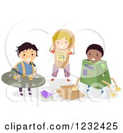Clipart Of Diverse Boys Playing In Science Fiction Cardboard Costumes Royalty Free Vector Illustration