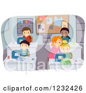 Clipart Of A Female Teacher Instructing Boys In A Sewing Class Royalty Free Vector Illustration