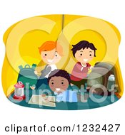 Clipart Of Happy Diverse Boys Hanging Out In A Camping Tent Royalty Free Vector Illustration
