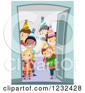 Clipart Of Happy Diverse Birthday Party Chidren Welcoming At A Door Royalty Free Vector Illustration