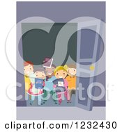 Clipart Of A Group Of Diverse Sleep Over Kids At A Door Royalty Free Vector Illustration
