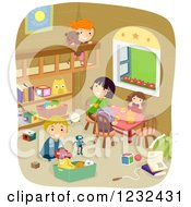 Clipart Of Happy Children Playing In A Room Royalty Free Vector Illustration by BNP Design Studio