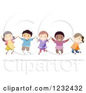 Clipart Of Happy Diverse Children Holding Hands And Jumping Royalty Free Vector Illustration