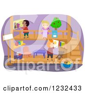 Clipart Of Diverse Children Playing In A Theater Royalty Free Vector Illustration by BNP Design Studio