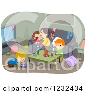 Clipart Of Children Playing In A Living Room Royalty Free Vector Illustration