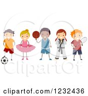 Clipart Of Diverse Children In Different Activity Uniforms Royalty Free Vector Illustration by BNP Design Studio