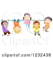 Clipart Of Happy Diverse Children Hanging On A Monkey Bar Royalty Free Vector Illustration