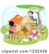 Clipart Of Happy Diverse Children Painting A Toy House Royalty Free Vector Illustration