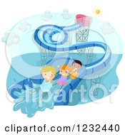 Clipart Of Happy Diverse Kids Going Down A Water Slide Royalty Free Vector Illustration by BNP Design Studio