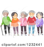Diverse Group Of Elderly Friends