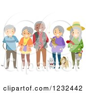 Clipart Of A Diverse Group Of Elderly Friends Showing Their Hobbies And Interests Royalty Free Vector Illustration