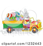 Clipart Of An Easter Bunny Driving A Truck Full Of Eggs Royalty Free Vector Illustration by Alex Bannykh