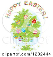 Clipart Of A Happy Easter Greeting Over A Birch Tree With Eggs Royalty Free Vector Illustration