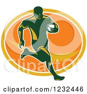 Clipart Of A Rugby Player Running Over An Orange Oval Royalty Free Vector Illustration
