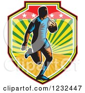 Clipart Of A Retro Woodcut Rugby Player Running In A Sunny Shield Royalty Free Vector Illustration