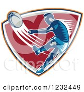 Clipart Of A Retro Woodcut Rugby Player Kicking On A Red Shield Royalty Free Vector Illustration