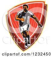 Clipart Of A Retro Woodcut Rugby Player Running Over A Red Shield Royalty Free Vector Illustration