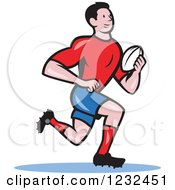 Clipart Of A Cartoon Rugby Player Running Royalty Free Vector Illustration by patrimonio