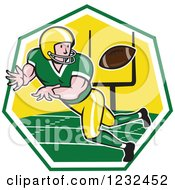 Clipart Of A Gridiron American Football Player Catching In A Field Hexagon Royalty Free Vector Illustration by patrimonio
