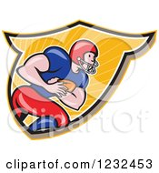 Clipart Of A Profiled Gridiron American Football Player Running With The Ball In A Shield Royalty Free Vector Illustration