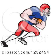 Clipart Of A Gridiron American Football Player Running With The Ball Royalty Free Vector Illustration