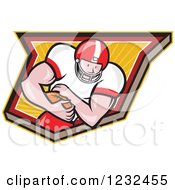 Clipart Of A Gridiron American Football Player Running With The Ball In A Shield Royalty Free Vector Illustration