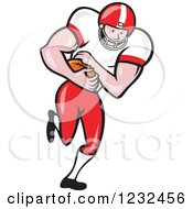 Clipart Of An American Football Player Running With The Ball Royalty Free Vector Illustration