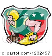 Clipart Of A Gridiron American Football Player Running In A Shield Royalty Free Vector Illustration