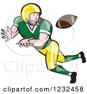 Clipart Of A Gridiron American Football Player Catching Royalty Free Vector Illustration