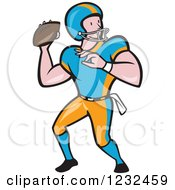 Clipart Of A Gridiron American Football Player Throwing A Ball Royalty Free Vector Illustration