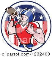 Clipart Of A Gridiron American Football Player Throwing Over A Flag Circle Royalty Free Vector Illustration