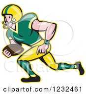 Clipart Of A Gridiron American Football Player Running Royalty Free Vector Illustration