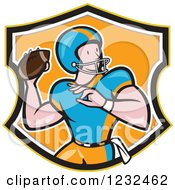 Clipart Of A Gridiron American Football Player Throwing In An Orange Shield Royalty Free Vector Illustration