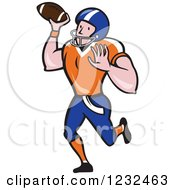 Clipart Of A Gridiron American Football Player Throwing Royalty Free Vector Illustration