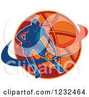 Clipart Of A Woodcut Basketball Player Dribbling Over A Ball Royalty Free Vector Illustration